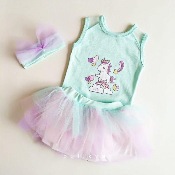 0 3 ay kiz bebek tutu etek takim 3 lu set 01 scaled - 0-3 Ay Kız Bebek Unicorn Tütü Etek Takım 3'lü Set