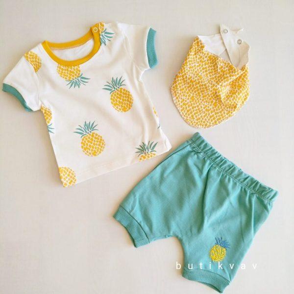 3 6 ay erkek bebek alt ust bere takim 3 lu set kopya 01 scaled - 3-6 Ay Erkek Bebek Alt Üst Fular Takım 3'lü Set