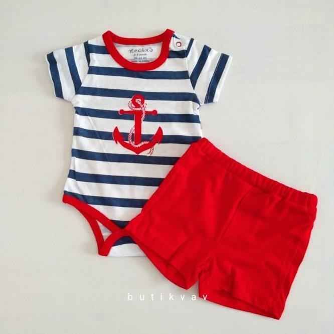 3 6 ay erkek bebek alt ust fular takim 3 lu set 01 scaled - Erkek Bebek Çapalı Alt Üst Takım