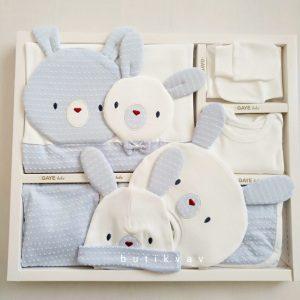 gaye bebe 10 lu hastane cikisi kopya 01 scaled - Gaye Bebe Tavşan Kafa 10'lu Hastane Çıkışı Mavi