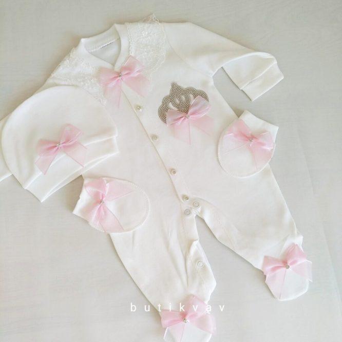 kiz bebek prenses tac suslemeli hastane cikisi 1 3 ay 01 scaled - Kız Bebek Prenses Taç Süslemeli Hastane Çıkışı 0-1 ay