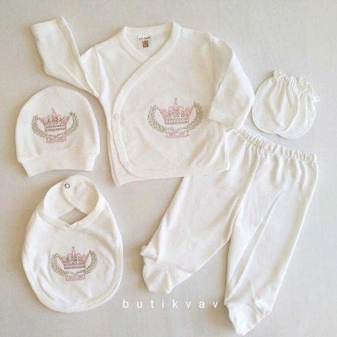 kiz bebek prenses tac nakisli 5 li hastane cikisi 01 scaled - Kız Bebek Prenses Taç Nakışlı 5'li Zıbın Seti