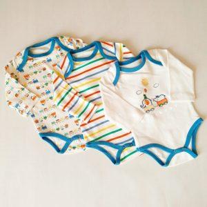 erkek bebek 3 lu citcitli badi 0 3 ay 01 scaled - Erkek Bebek Renkli Tren 3'lü Çıtçıtlı Badi 0-3 Ay
