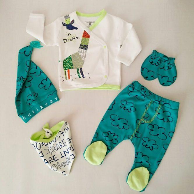 erkek bebek renkli zurafa 5 li hastane cikisi zibin seti 01 scaled - Erkek Bebek Renkli Zürafa 5'li Hastane Çıkışı Zıbın Seti