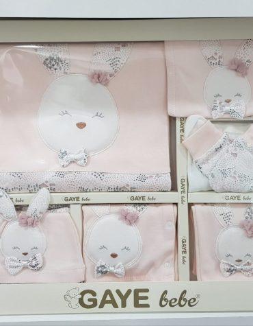 gaye bebe tavsan nakisli 10 lu hastane cikisi pudra 01 scaled - Gaye Bebe Tavşan Nakışlı 10'lu Hastane Çıkışı - pudra