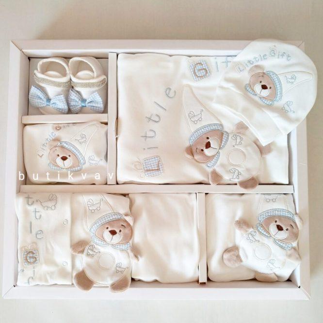 little gift ayicik motifli tulumlu lux 10 lu hastane cikisi 01 scaled - Little Gift Ayıcık Motifli Tulumlu Lux 10'lu Hastane Çıkışı Mavi