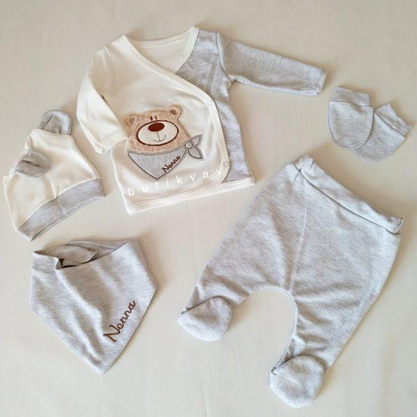 nanna baby fularli ay 5 li hastane cikisi zibin seti 01 scaled - Nanna Baby Fularlı Ayı 5'li Hastane Çıkışı Zıbın Seti