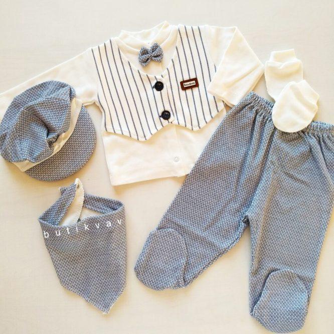 bebelinna erkek bebek papyonlu 5 li hastane cikisi 03 scaled - Bebelinna Erkek Bebek Papyonlu 5'li Hastane Çıkışı