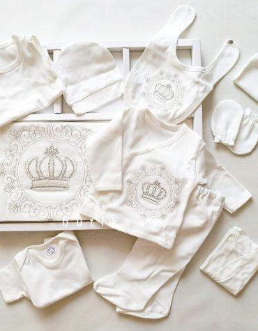 erkek bebek prens tac suslemeli 10 lu hastane cikisi krem 01 scaled - Erkek Bebek Prens Taç Süslemeli 10'lu Hastane Çıkışı Krem