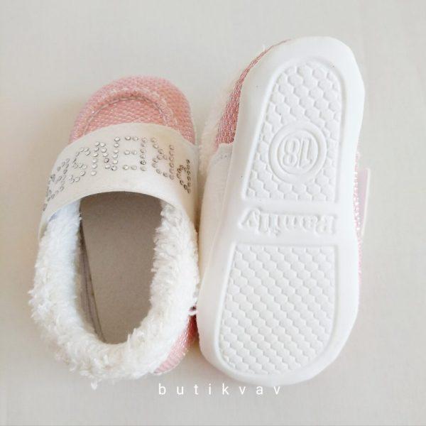 yenidogan kiz bebek pelus panduf 06 scaled - Prenses Taşlı Kız Bebek İlk Adım Ayakkabı -18 no
