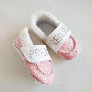 yenidogan kiz bebek pelus panduf 07 scaled - Prenses Taşlı Kız Bebek İlk Adım Ayakkabı -18 no