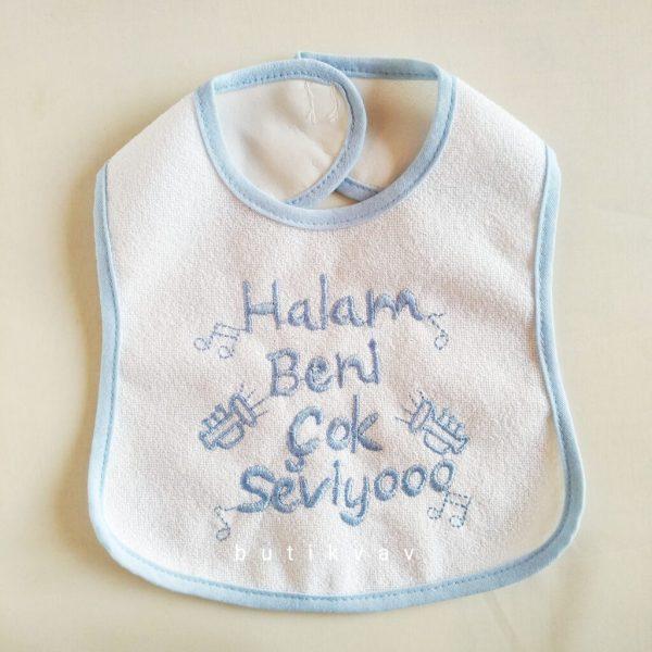 """teyzem beni seviyor bebek onlugu mavi 02 scaled - """"Halam beni seviyor"""" Bebek Önlüğü - Mavi"""
