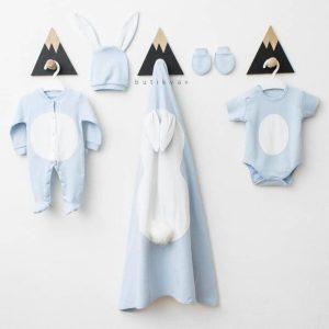 erkek bebek tavsan tulum battaniye seti mavi 01 - Ponponlu Tavşan Tulum Battaniye 5'li Set - Mavi