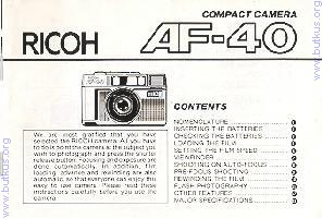 Ricoh AF 40 camera instruction manual, user manual, PDF
