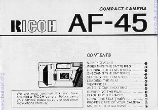 Ricoh AF-45 camera manual, user manual