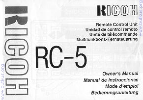 Ricoh RC-5 camera instruction manual, user manual, PDF