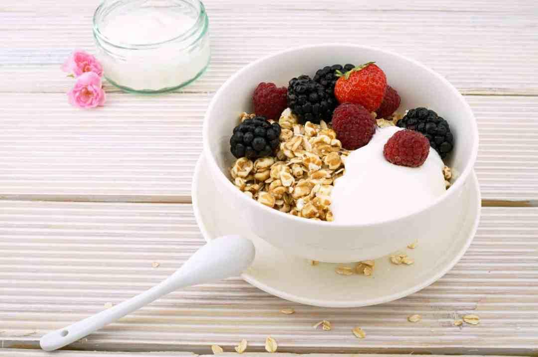 Greek Yogurt with oatmeal, blueberries, strawberries, and blackberries