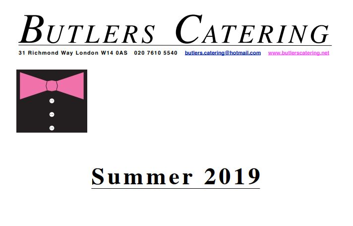 Butlers Catering Summer 2019