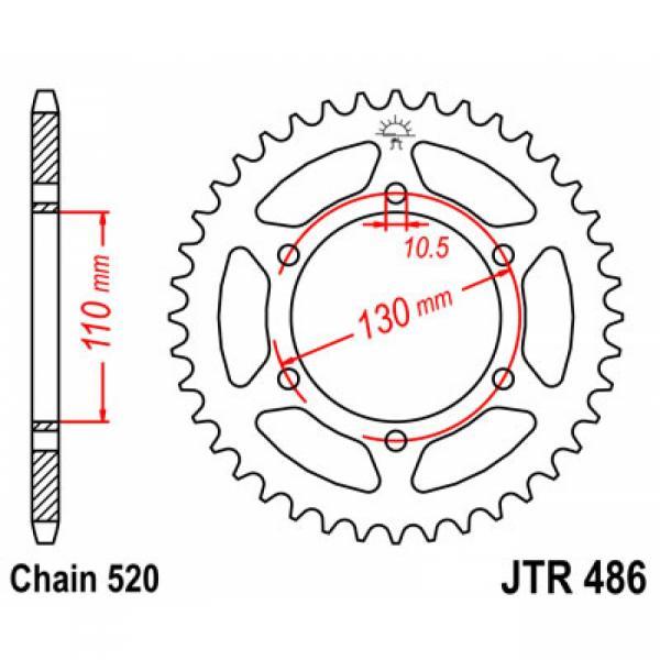JTR486.42 Звезда задняя 42 зуба