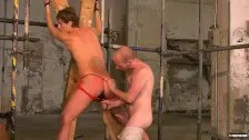 Young gay Casper Ellis in bondage rimjob and BDSM anal play