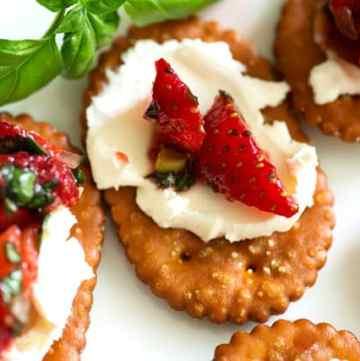 Strawberries on a pretzel cracker