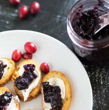 A jar of Cabernet Cranberry and Blueberry Sauce