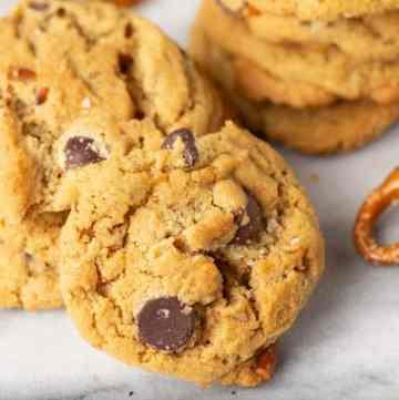 Pretzel Peanut Butter Cookies on a marble slab