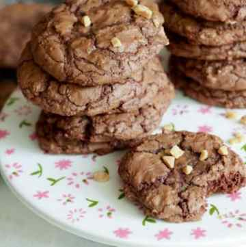 Chocolate Brownie Cookies on a platter