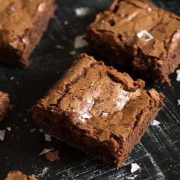 Fudgy Brownies on a black background