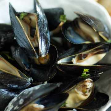 A bowl of Mussels with Vermouth and Tarragon