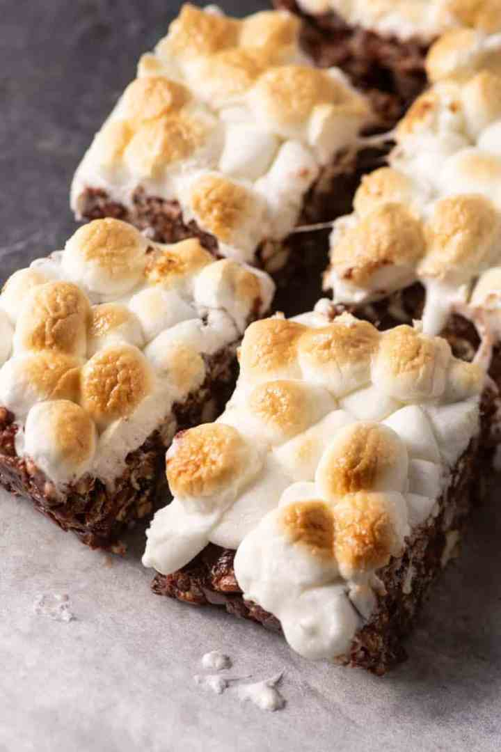 S'more Bars on parchment paper