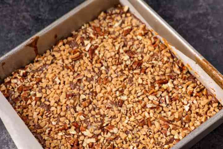 A baking pan of shortbread toffee bars