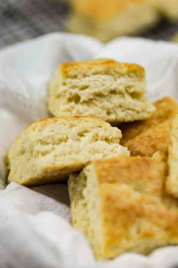 A basket of square buttermilk bisucits
