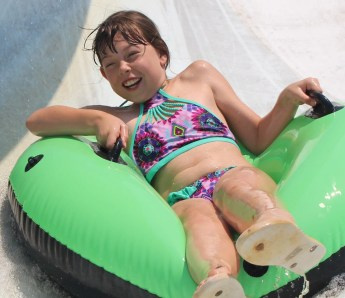 waterslide into lake at Butter and Egg Adventures
