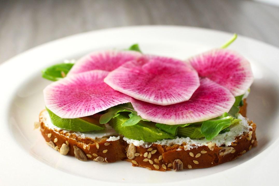 Watermelon Radish Avocado Arugula Toast | butterandthings.com