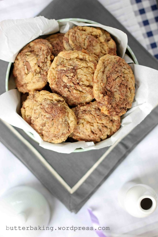 Nutella Swirled Wholewheat Chocolate Chip Cookies | Butter Baking
