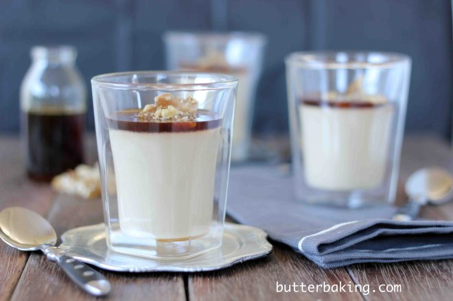 Coffee Caramel Panna Cotta with Walnut Praline | Butter Baking