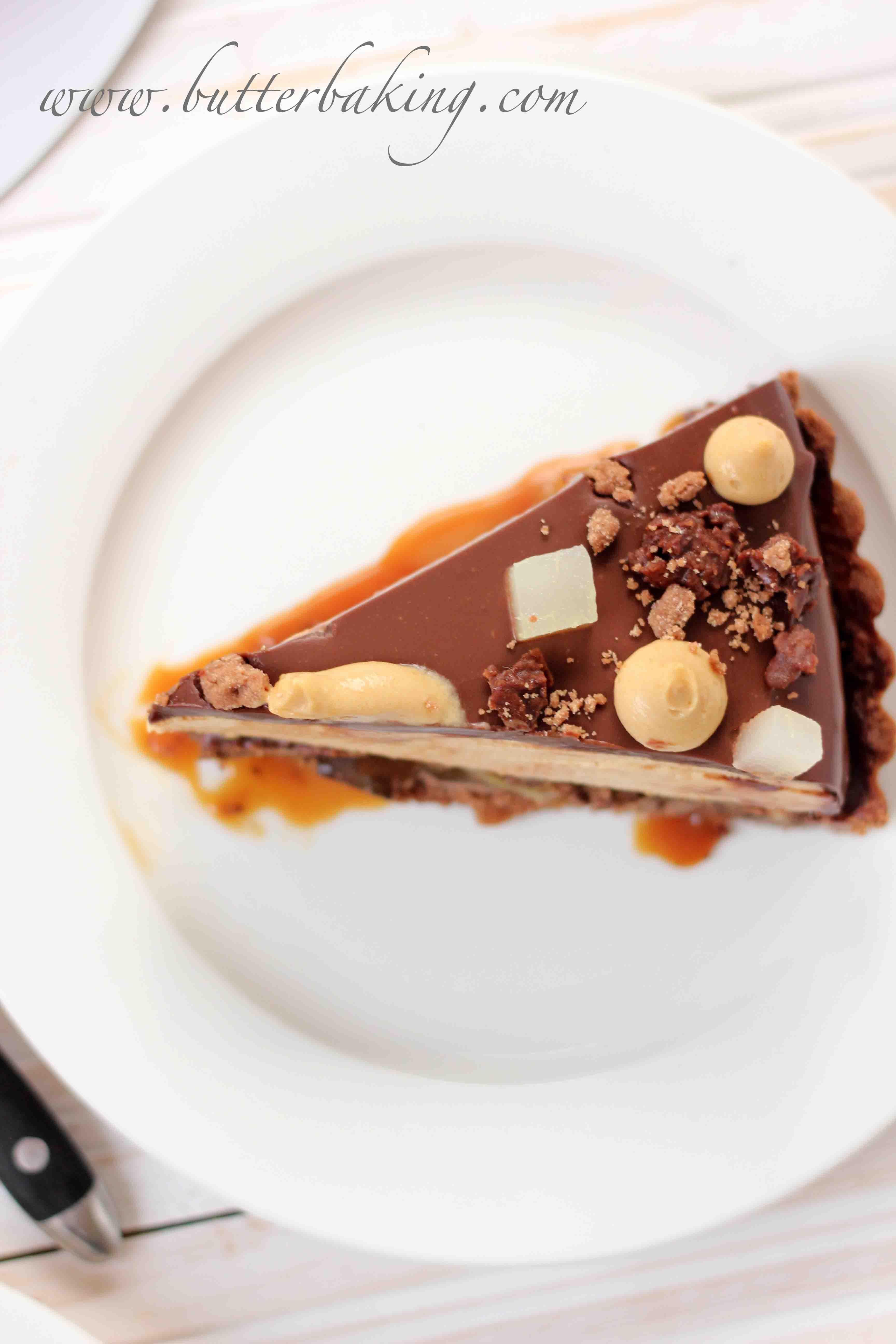Salted Caramel, Pear and Pecan Chocolate Tart – Butter Baking