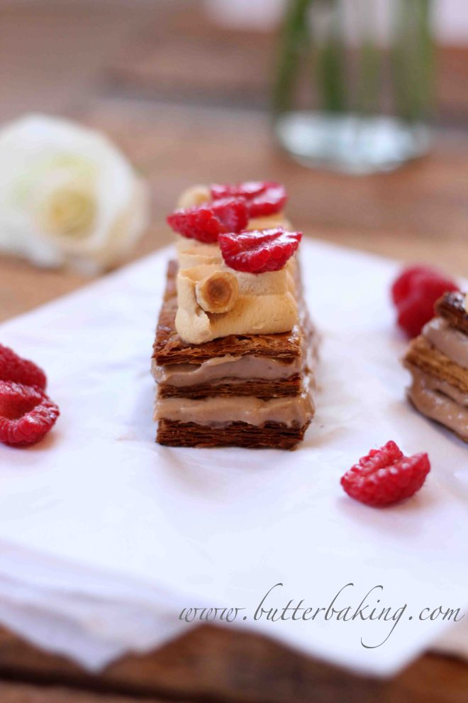Hazelnut, Raspberry and Salted Caramel Mille Feuille | Butter Baking