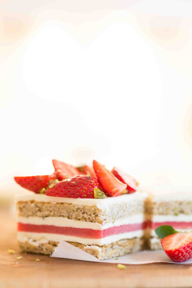 Strawberry, Pistachio and White Chocolate Gateau | Butter Baking