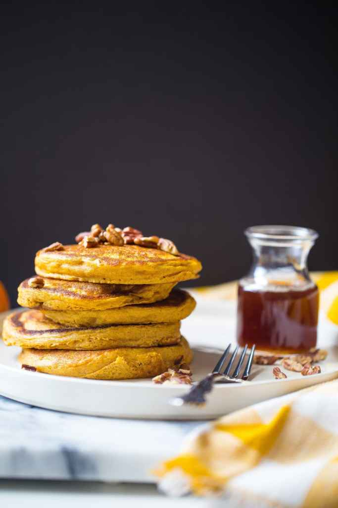 Pumpkin Pancakes with Spiced Maple Syrup