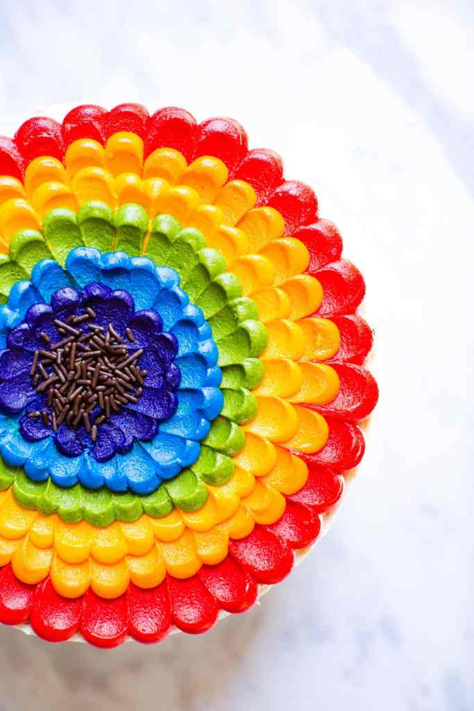 overhead picture of rainbow layer cake