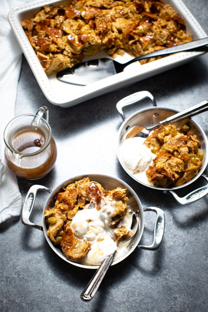 challah bread pudding and ice cream in small pans