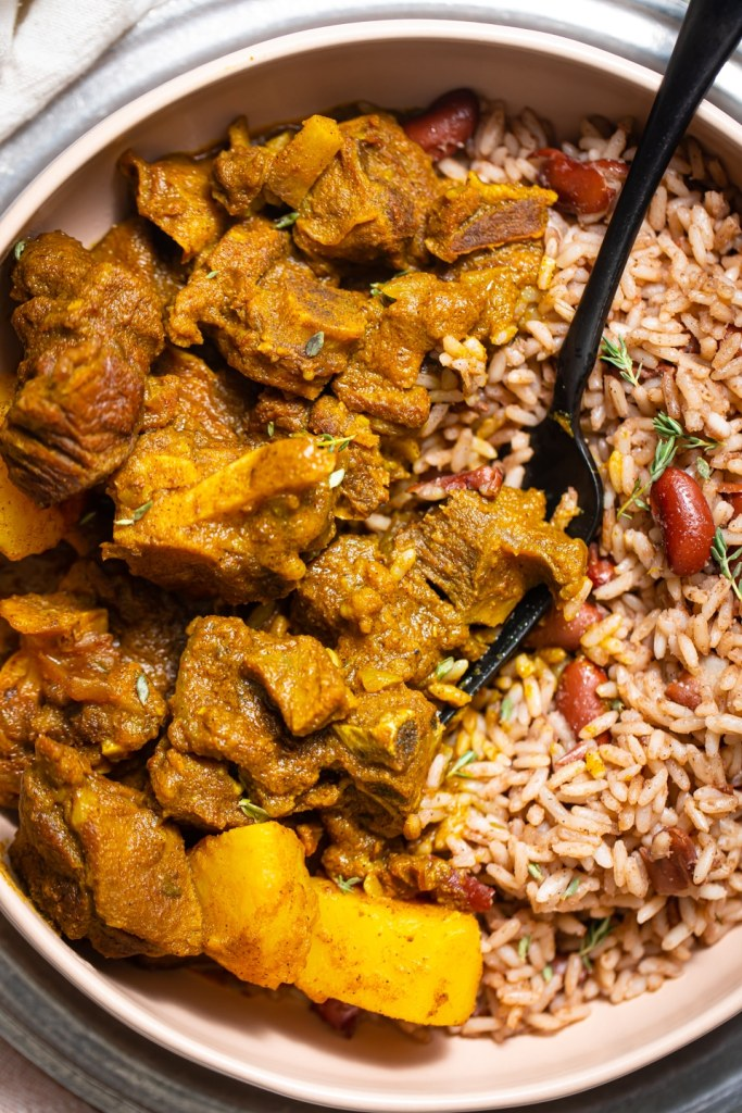 caribbean curry goat with rice and peas  butter be ready