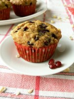 Vegan Pomegranate Oats White Chocolate Chip Muffins
