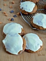 Soft Pumpkin Cookies with Butterscotch & Chocolate Chips topped with Cinnamon Marshmallow Cream Frosting