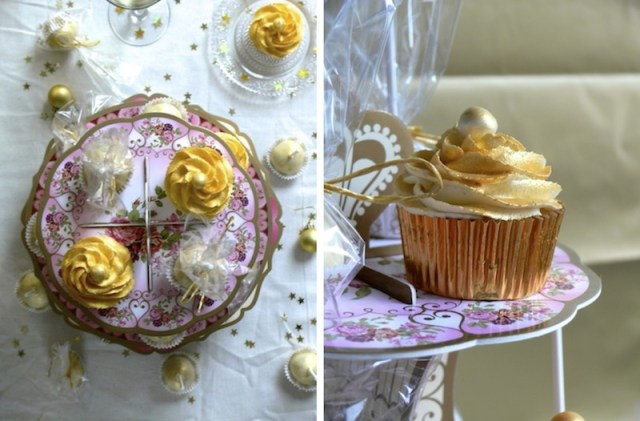Golden White Chocolate Champagne Cupcakes 2