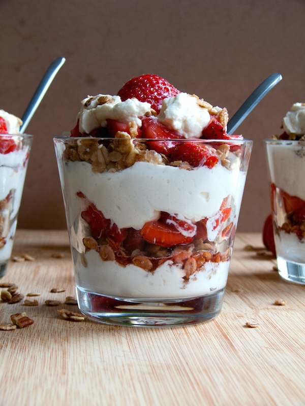 Maple Strawberry Mascarpone Granola Parfait