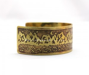 This etched brass mountain cuff is one of the first designs for the Beautiful World Collection, inspired by Newcastle Weed Warriors!