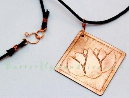 Copper Diamond Lotus Pendant on white